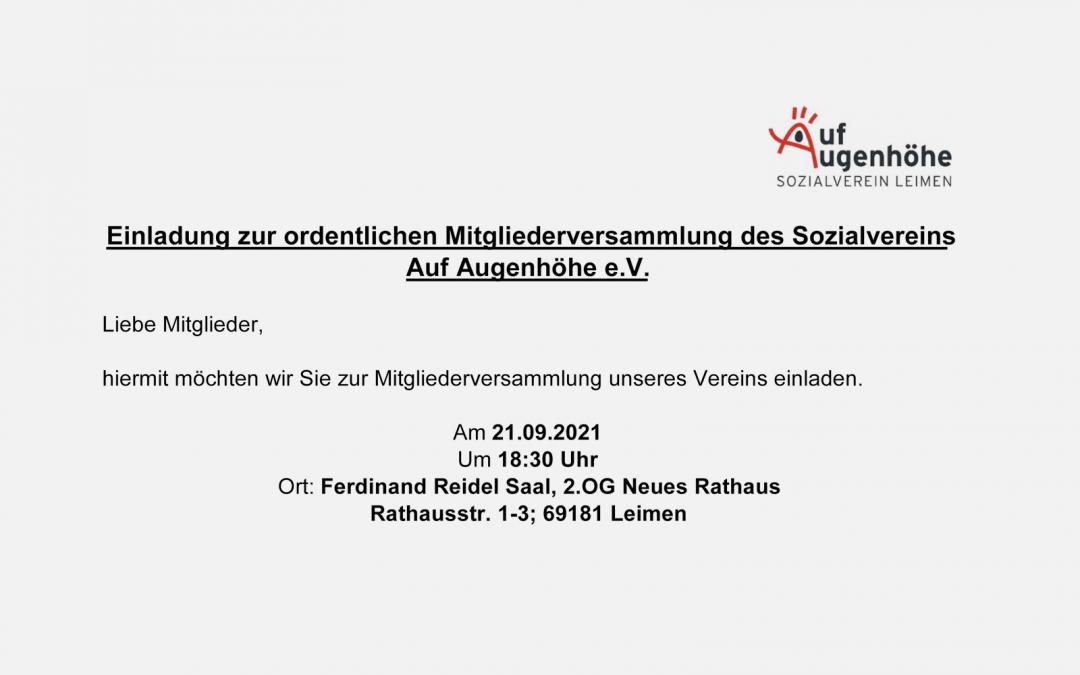 Einladung zur ordentlichen Mitgliederversammlung des Sozialvereins Auf Augenhöhe e.V.